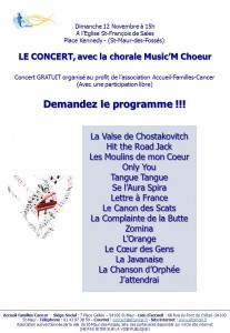 Programme concert 12 Novembre 2017